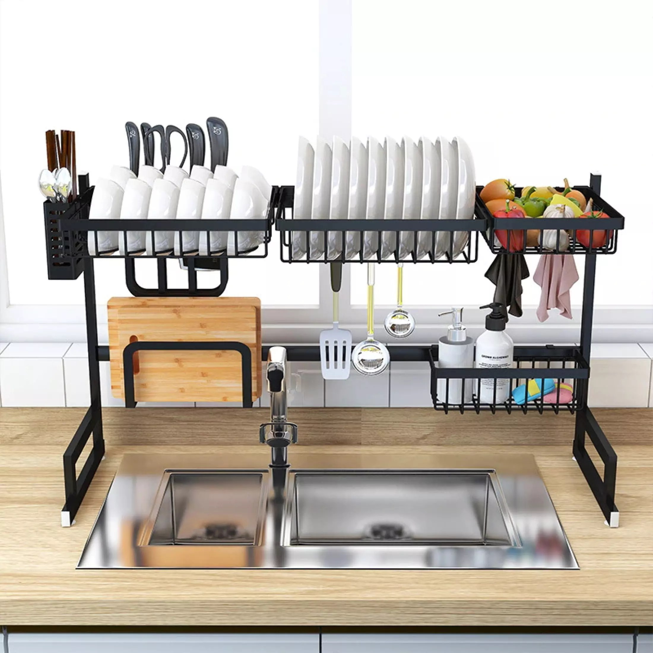 space saver over sink dish drainer rack