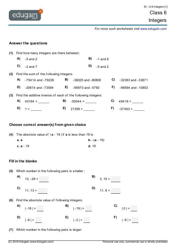 Grade 6 Math Worksheets And Problems Integers