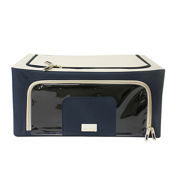 Modern Foldable Storage Box 40L (Fabric, Wire, Navy Color)