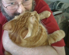 """Giving my kitty """"wuv""""."""