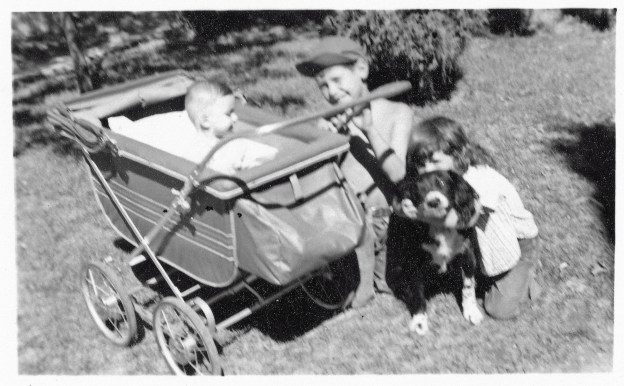 My brother and sister, Nrs. 2 ND 3 IN BIRTH ORDER, and me, the baby of the family when, well, I was a baby1 That's my Grandma McKenzie's dog Laddie, a very nice and loyal dog.