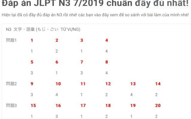 dap an JLPT N3 7/2019 day du chinh xac nhat