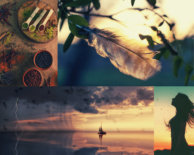 Mood board collage of a ship on a sunset horizon, several bowls of powdered spices, a woman's silhouette with windblown hair, and a feather against the sun.