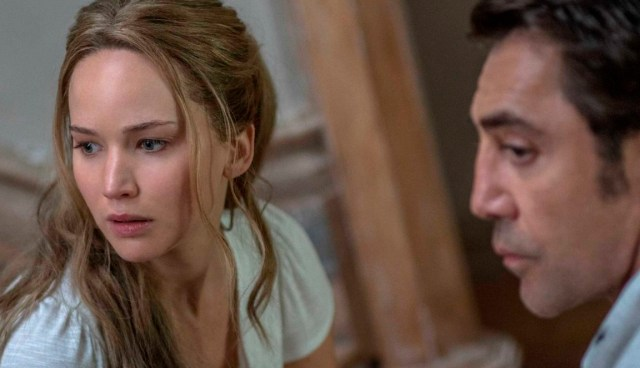 Jennifer Lawrence and Javier Bardem in a production photo from Mother.