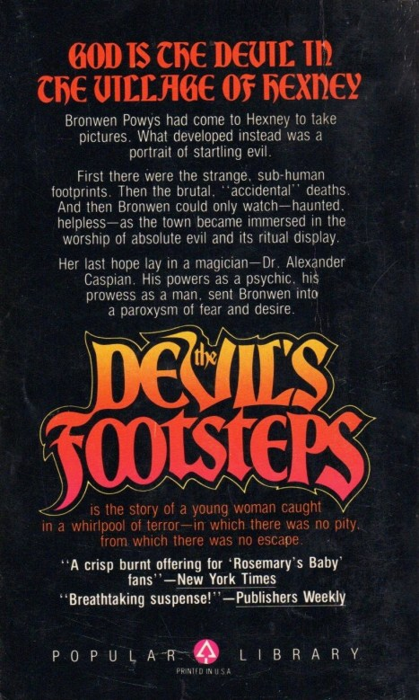 Back cover for Devil's Footsteps