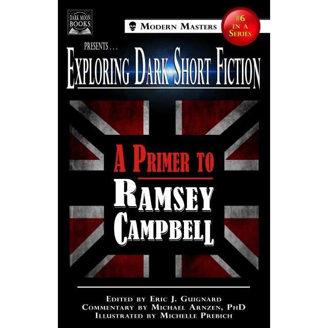 """Book cover for """"A Primer to Ramsey Campbell"""" with the union jack flag faintly displayed behind the title."""