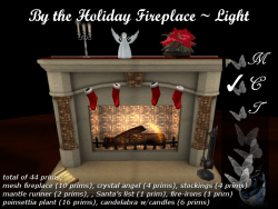 by the holiday fireplace-light