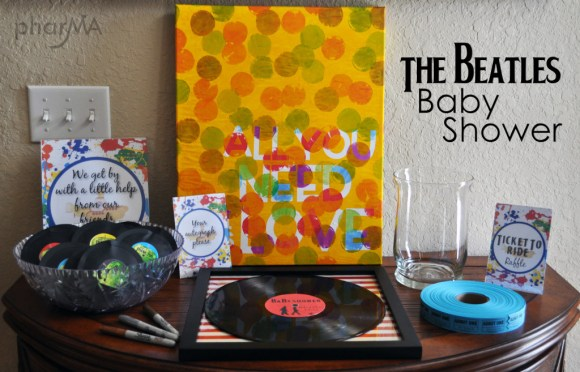 The Beatles Couples Baby Shower, music themed party