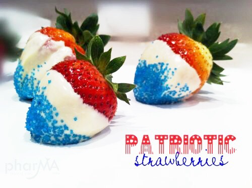 Red, White, and Blue Strawberries, fourth of july food, chocolate dipped strawberries