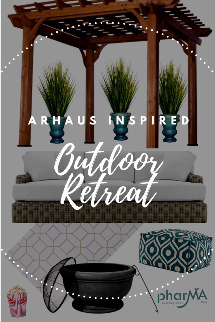 outdoor movie theater, outdoor patio, arhaus, the PharMA and Arhaus