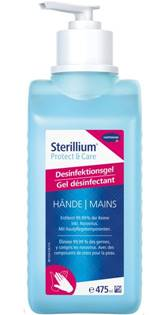 bouteille de gel hydroalcoolique de la marque stérilium