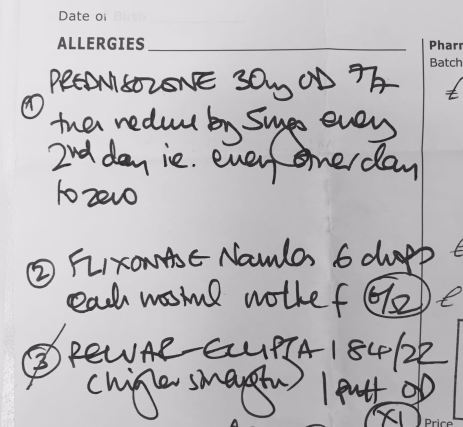 ambiguous hand written prescription for a community pharmacist to dispense