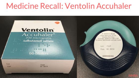 Medicine Recall Ventolin Accuhaler 200mcg (Salbutamol Sulfate)
