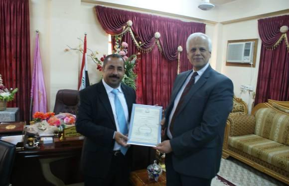 بطاقة تهنئة الى الدكتور احمد صالح الخزعلي بمناسبة تسنمه مهام عميد كلية الصيدلة