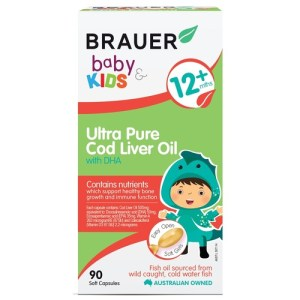 Brauer Baby & Kids Ultra Pure Cod Liver Oil with DHA 90 Soft Gels