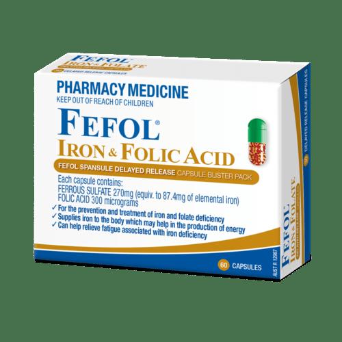 Fefol Iron & Folate Supplement Capsules 30 3