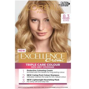 L'Oreal Excellence Permanent Hair Colour-8.3 Golden Brown