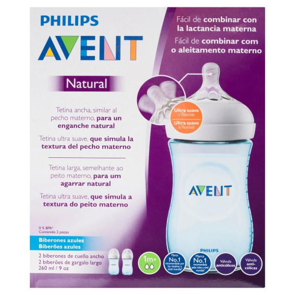 Philips Avent Natural Wide-Neck Bottles Blue 1m+ 2 x 260mL 6