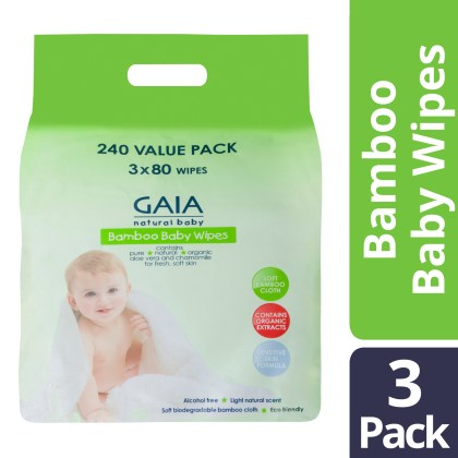 GAIA Natural Baby Bamboo Baby Wipes 3 x 80 Pack