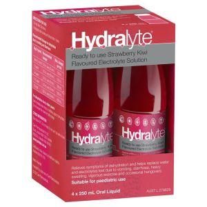 Hydralyte Electrolyte Strawberry and Kiwi 4x250ml Solution
