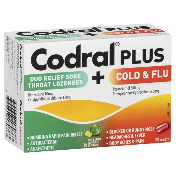 Codral Plus Sore Throat Lozenges & Cold and Flu 20 Tablets 3
