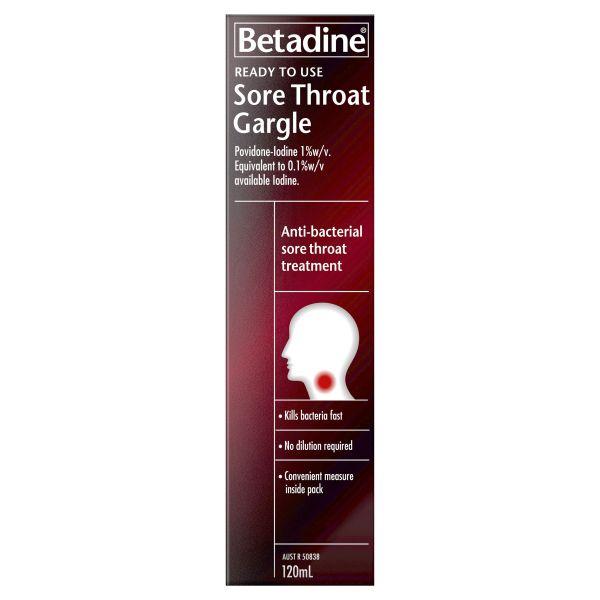 Betadine Ready to Use Sore Throat Gargle 120ml 3