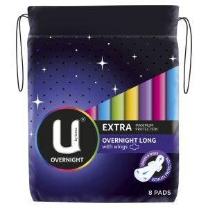 U by Kotex Overnight Extra Pads Long 8 Pack
