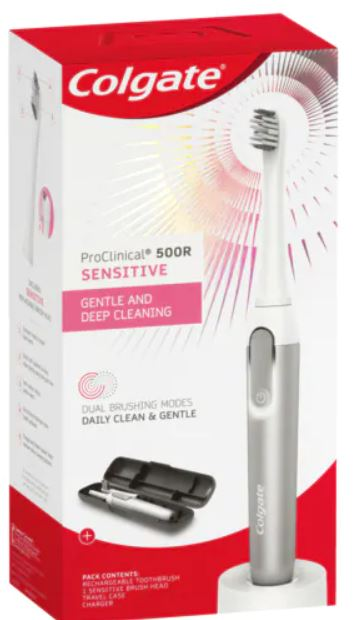 Colgate ProClinical Electric Power Sonic Toothbrush 500R Sensitive Rechargeable with Dual Brushing Modes & Travel Case 3