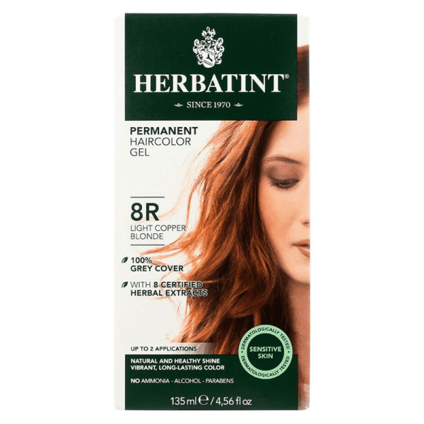 Herbatint Permanent Hair color Gel 8R Light Copper Blonde 150ml