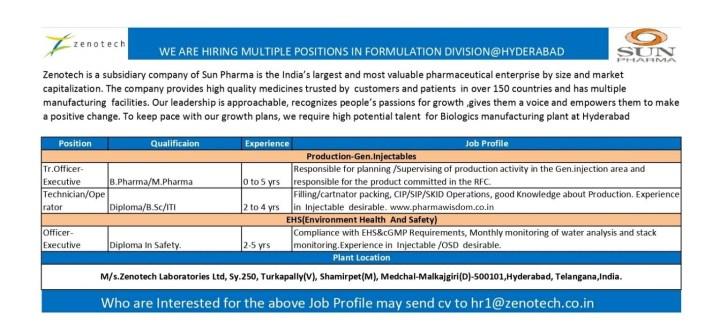Zenotech Laboratories Hiring B pharma M pharma Bsc ITI Diploma for Production And EHS