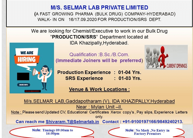 Selmar lab Walk In 16th 17th Sept 2020 for Production SRS Departments