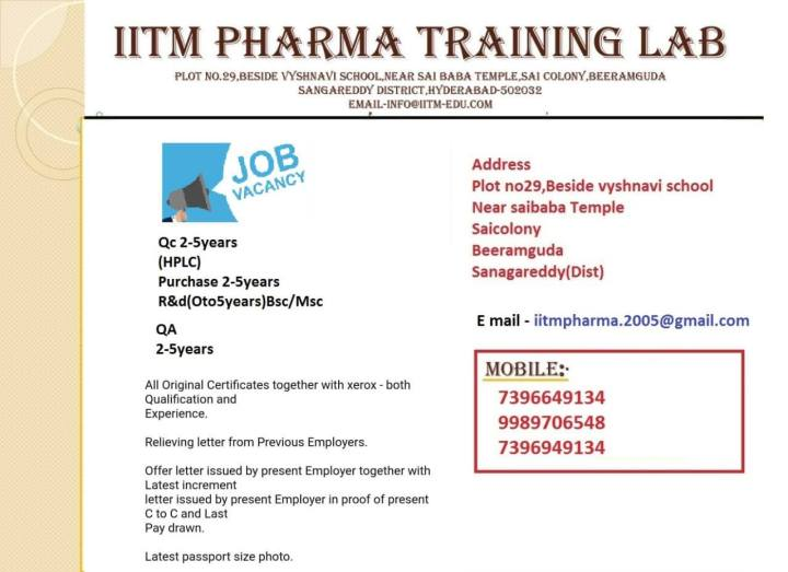 Covalent Laboratories Hiring BSc Msc for QC QA Purchase R and D