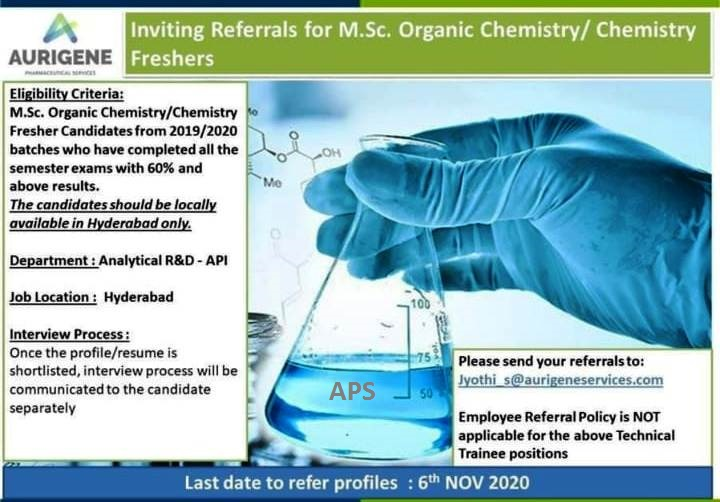 Aurigene Pharmaceutical Last Date to refer Profiles 6th Nov 2020 MSc Organic Chemistry Chemistry Freshers for Analytical R and D