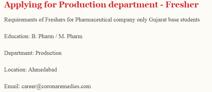Corona Remedies Hiring MPharm Bpharma Freshers for Production