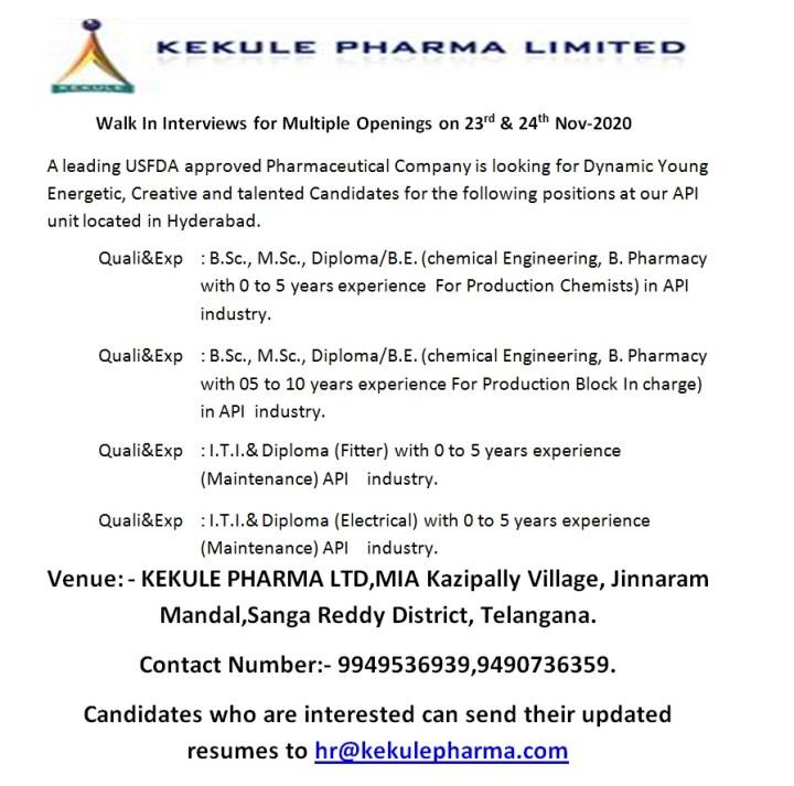 Kekule Pharma WalkIn 23rd and 24th Nov 2020 Freshers and Experienced BSc MSc B Pharm