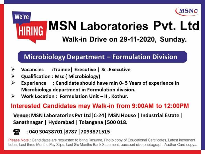 MSN Laboratories Walkin 29th Nov Feshers and exp for Microbiology QC