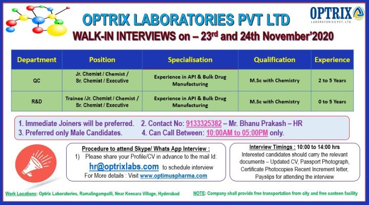 Optrix Laboratories walkin 23rd to 24th Nov 2020 Freshers and experience