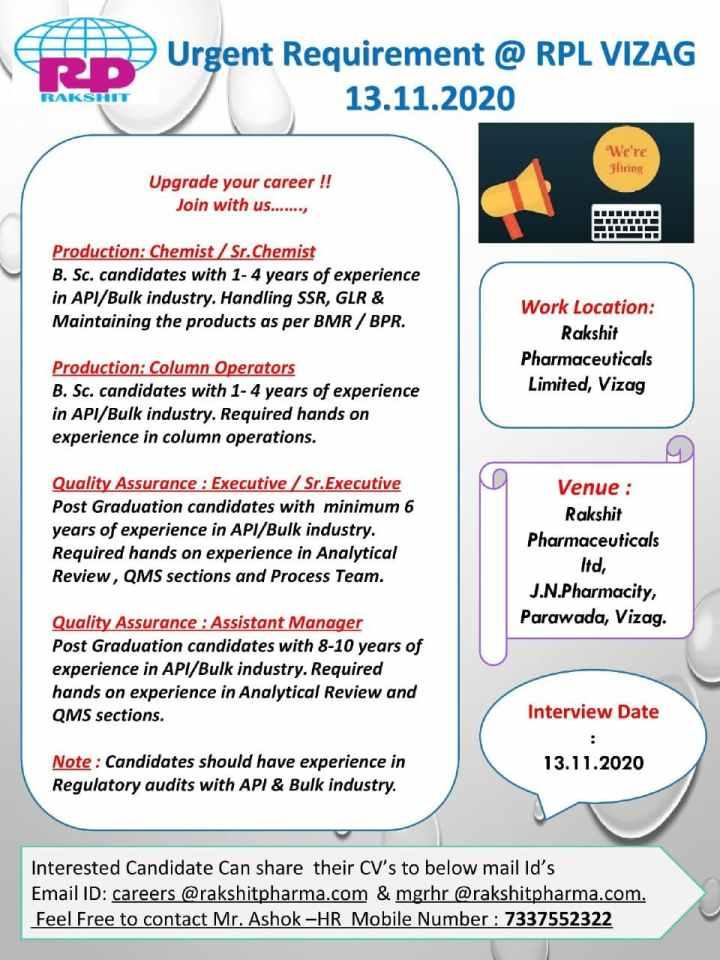 Rakshit Pharmaceuticals Walk In 13th Nov 2020 for Production QA