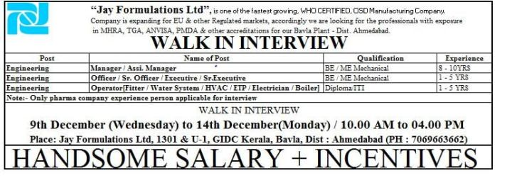Jay Formulations Ltd Walk In 9th to 14th Dec 2020