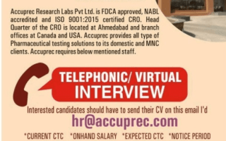 Accuprec Research Telephonic / Virtual Interview for Multiple Positions