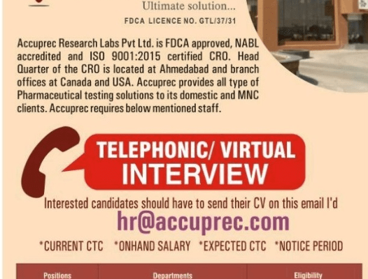 Freshers & Experienced: Telephonic / Virtual Interview At Accuprec Research