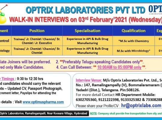 Optrix Laboratories Walk In on 3rd Feb 2021 for M.sc Freshers & Experienced