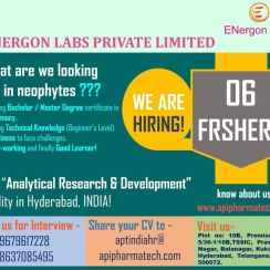 Freshers walk-in on 24th March 2021 At ENergon Labs for AR&D