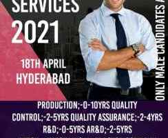 QA,QC,Production,R&D,AR&D,Warehouse,mechanical Openings walk-in on 18th April 2021