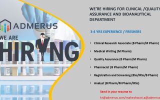 Admerus Biosciences – Hiring Freshers & Experienced Clinical Research Associate / Medical Writing / QA / Pharmacist / Registration & Screening / Analyst – Clinical / QA / Bioanalytical Departments