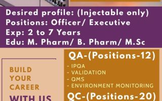 Amneal Pharmaceuticals – Walk-In Interviews for Multiple Positions in QC / QA on 21st Mar' 2021