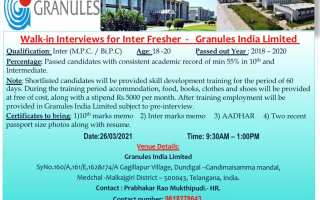 Granules India Limited – Walk-In Interview for FRESHERS on 26th Mar' 2021