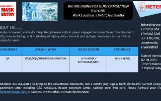 Hetero Labs Limited – Walk-In Interviews for Freshers & Experienced in Quality Assurance / Production on 2nd & 3rd Apr' 2021