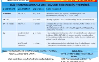 SMS Pharmaceuticals Ltd – Walk-In Interviews for Freshers & Experienced in Production / QC / QA on 26th & 27th Mar' 2021
