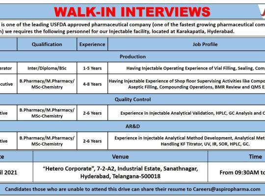 Aspiro Pharma – Walk-In Interviews for Production / Quality Control / AR&D on 18th Apr' 2021